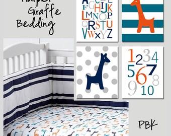 GIRAFFE Nursery Art Giraffe Nursery Decor Harper Giraffe Nursery Art Giraffe Alphabet Numbers - Set of 4 Giraffe Prints - Choose Your Colors