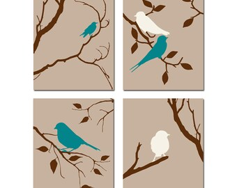 Bird Wall Art Bird Artwork Set of 4 Prints - Decor for Kitchen, Bedroom Wall Art - CHOOSE YOUR COLORS