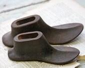 Cast Iron SHOE FORMS- Antique Cobbler's Shoes- Child Shoe Form Pair- Rustic Metal Shoes