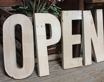 Vintage OPEN signage- Large Wooden Sign Letters- White Chipped Paint- Antique Shop- Craft Fair Business Open