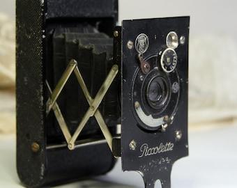 Vintage CAMERA- Contessa Nettel PICCOLETTE- Antique Film Camera- Industrial Black-Lens- Photography