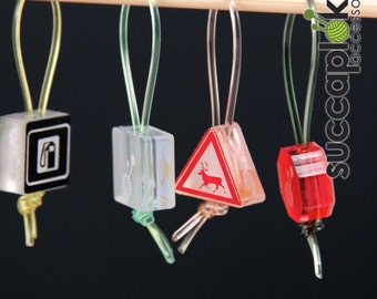 Liikennemercci(road sign), Knitting Stitch Markers, Place markers made out of industrial left over plastic, Light markers with traffic signs
