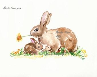 Nursery wall art, Rabbit art, Mother and Baby art, Bunny art, Nursery wall art, watercolor bunny art, Garden animal art
