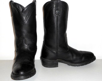 Mens 8 EW Cowboy Boots Wide Width Black Leather Work Shoes Western / Womens 9.5