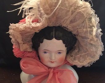 Antique Fancy Doll Hat with Lace and Ribbon