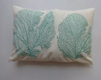 aqua blue  coral fan pillow STOCK CLEARANCE 20% OFF- off white with  aqua blue embroided  coastal sea themed pillow 12x18 1 in stock