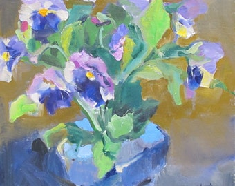 Pansies----sketch, oil painting, pansies, floral, quick paint