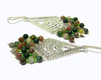Fancy Jasper Earrings, Jasper Jewelry, Hippie Bohemian Tribal Ethic, Filigree Jewelry, Gift Ideas, Sterling Silver Jewelry, Green Jewelry