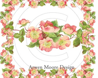Beautiful Vintage Chic Shabby Peach Pink Roses Border Spray Tea Roses Waterslide Water Slide Iron On Transfer Miniature Craft Decals ro-205