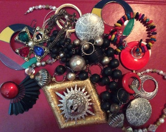 Repurpose Red Bold Lion Gold Beaded Salvage Necklace lot destash harvest