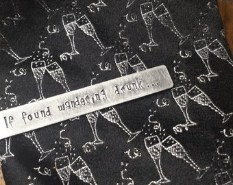 If found wandering drunk...I'm S.O.L. Custom Hand Stamped Thick Aluminum Tie Clip Tie Bar by MyBella