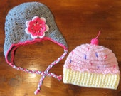 Crochet Custom Cupcake hat and Grey Flowered Lined Hat