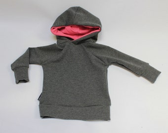 Charcoal Heather / Watermelon Bamboo Pullover Hoodie