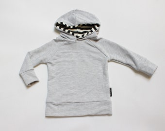 Heather Grey / Black and White Striped Bamboo Pullover Hoodie