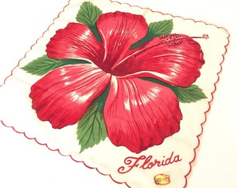 Vintage Florida handkerchief hankie hibiscus blossom 1950s unused with tag Sherry Floridiana souvenir kitsch
