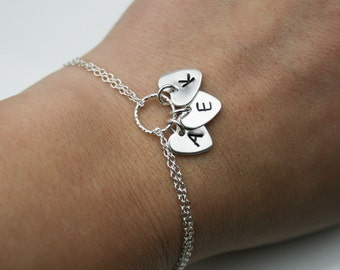 Sterling Silver Mum's Personalized Bracelet - Gift for Mum - Adjustable Personalized Heart Initial Bracelet