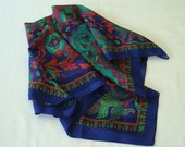 Pretty Silky Polyester Scarf, 30X30, Red, Green, Blue, Magenta Scarf, Ladies Scarf, Accessories, Stylish, Indian Print