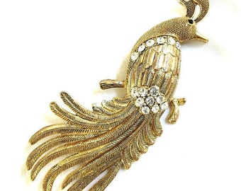Vintage Gold Tone and Clear Rhinestone Bird of Paradise Brooch or Pin