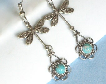 Silver Dragonfly Turquoise Earrings - Filigree Earrings, Dragonfly Jewelry, Nature Jewelry