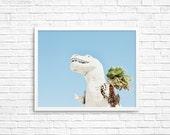 BUY 2 GET 1 FREE Palm Springs California, Dinosaur Photo, Kids Room Decor, California Wall Art, Palm Tree Photo - Palm Springs Dino 4