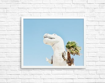 BUY 2 GET 1 FREE Palm Springs California, Dinosaur Photo, Kids Room Decor, California Wall Art, Palm Tree Photo - Palm Springs Dino 4