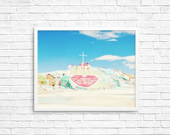 BUY 2 GET 1 FREE California Wall Art, Salvation Mountain Print, Desert Print, Pastel Decor, California Desert, Religious  Salvation Mountain