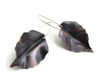 Black Leaf Earrings - Copper Earrings - Forest Jewelry - Silver Drop Earrings - Witch Hazel - Drop Earrings - Modern Earrings