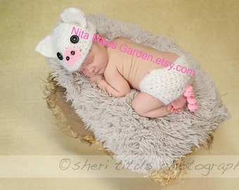Baby Pig Hat Diaper Cover Set Size Newborn 0 3m  Crochet Photo Prop Boys Girls Clothes Gender Neutral Super Soft Fuzzy