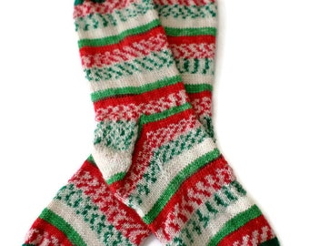 Socks - Hand Knit Women's Christmas Socks - Size 7-8 - Holiday Socks -Xmas Socks
