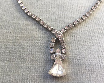 "Art Deco Clear White Prong Set Rhinestone Necklace / 15""/ 1930s / 1920s"