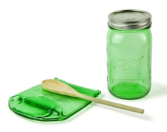 Big Melted Mason Jar Spoon Rest / Large Green Ball Jar Spoon Rest / Ball Jar Soap Holder / Spoon Holder / Housewarming Gift
