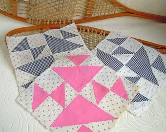 3 Vintage 1930s Hourglass Quilt Blocks Squares | Cotton Calico Black White Pink Fabric