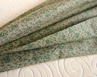 2 Yards Green Cotton Fabric | Floral Calico Fabric | Little Green Roses