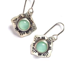 Southwestern silver earrings, Southwest style earrings, western dangle earrings
