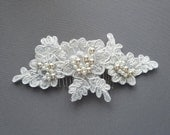 OFD {SPRING SALE} 50% Off!!! - OFD1 Handmade bridal lace hair piece with Swarovski pearls on hair comb.