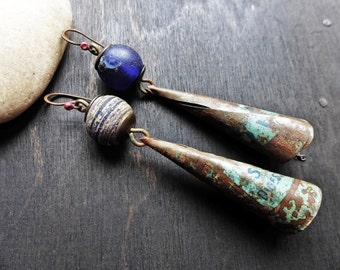 Perantique. Primitive earrings with antique blue trade beads and vintage tin.