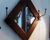 Antique New England Wall Mirror with Hat Hooks