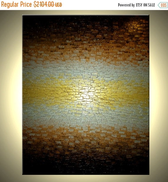 HUGE Gold Metallic Abstract Thick Textured Original Knife PAINTING, Bronze Modern Impasto Art By Lafferty, 60x48, Free Shipping