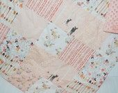 woodland baby girl quilt- arrow baby quilt- fawn baby quilt- baby girl bedding--minky baby quilt- peach baby quilt- arrow baby quilt