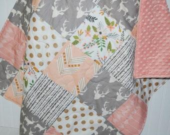 woodland baby girl quilt- arrow baby quilt- floral baby quilt- baby girl bedding--minky baby quilt- gray baby quilt- arrow baby quilt
