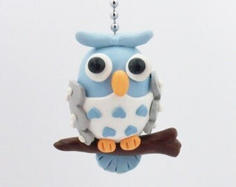 Owl Ceiling Fan Pull Chain - Blue and Gray - Polymer Clay - Owl Nursery - Children's Owl Decor - Woodland Decor