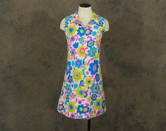 CLEARANCE Sale vintage 60s Dress - 1960s Mod Floral Shift Dress Mini Dress Sz S