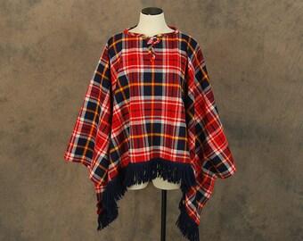 vintage 60s Wool Cape - 1960s Red and Blue Plaid Poncho Cape Blanket Coat Sz S M L Xl