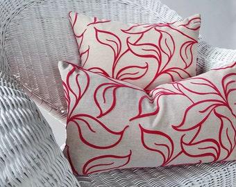 Fuchsia Pillow Cover, Hot Pink Pillow, Textured Leaves Pillow, Pink Throw Pillow, Eclectic Toss Pillows, Boho Pillows, Dorm Decor 18x18