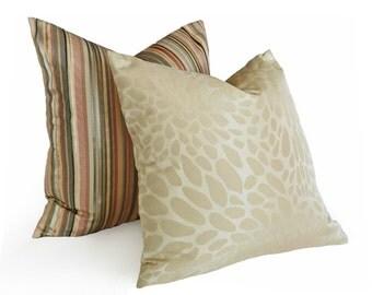 Cream Lumbar Pillow, Abstract Animal Print Pillows,  14x18 Oblong, Designer Cream Pillow Covers with Iridescent Spots, Circles