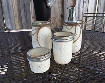 4pc Bathroom Jar Set in Ivory. Shabby Chic, Cottage, bathroom