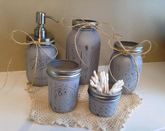 5pc Mason Jar Bathrrom Set