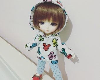Mickey pattern hooded t-shirt for Lati Yellow or Pukifee