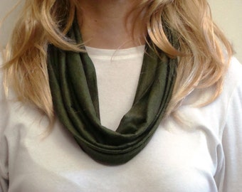 Green Jersey Infinity Scarf - Green Sparkle Circle Scarf - Loop Scarf - Forever Scarf - Made in RI
