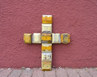 Square Wall Cross Yellow White Upcycled Cross, Unique Cross, Road Reflectors Industrial Salvaged Mixed Media Wall Art Cross Gift Urban Decor